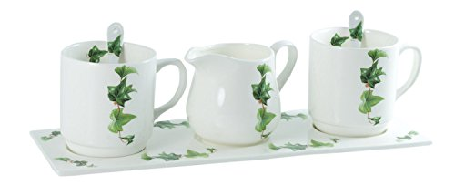 La Cija Ivy Ensemble avec 2 Tasses-Plateau et cuillères à Lait en Porcelaine Blanc