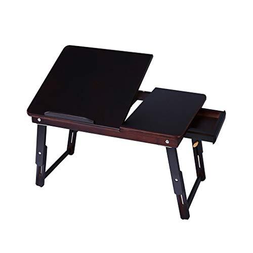 Tables Basse Bureau D'ordinateur Pliant D'étude Élévatrice Basse for Lit en Bambou Tatami Basses (Color : Black, Size : 55 * 35 * 22cm)