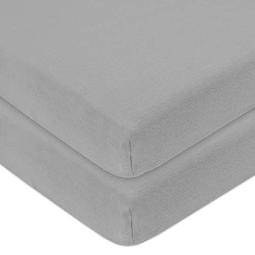 American Baby Company 100% Natural Cotton Value Jersey Knit Fitted Portable/Mini-Crib Sheet, Gray, Soft Breathable, for Boys and Girls, Pack of 2