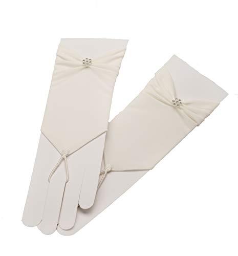 Unbekannt Brauthandschuhe fingerlos Braut Handschuhe Perlen Hochzeit Weiß Ivory Satin Stulpen (Ivory/Elfenbein)