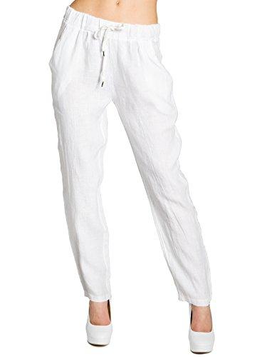 Caspar KHS045 Pantalon l�ger et Confortable pour Femme Pantalon d'�t� en Lin, Couleur:Blanc, Taille:XL - FR44