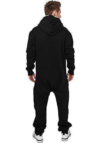 Urban Classics Herren Strampelanzug Sweat Jumpsuit, Black/White - 3