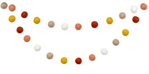 Thanksgiving Felt Ball Garland - Coral, Mustard, Brown, Ivory - 1' (2.5 cm) felt balls