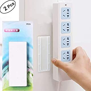 OfferDeal 2pcs Seamless Punch-free Plug Sticker Holder Wall Fixer Power Strip Holders Storage for Sockets Wall Holders She...