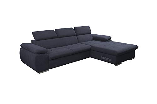 mb-moebel NILUX - Sofá esquinero con función de cama, con cajón, sofá en forma de L, color antracita, sofá esquinero derecho)