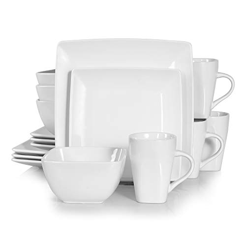 Vancasso Tafelservice Porzellan, 16 teilig SOHO eckiges Geschirrset für 4 Personen, Kombiservice Set,quadratisch