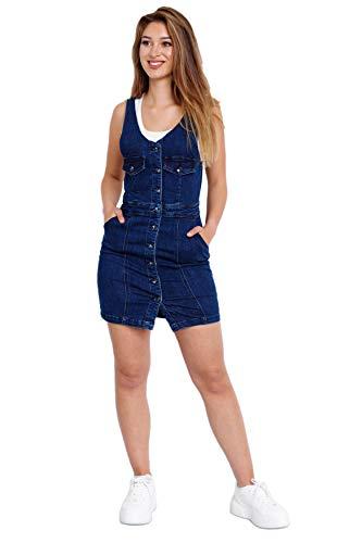 Vestido de Vaqueros de Mujer Mini Falda de Cóctel sin Mangas, Color:Azul, Talla:40