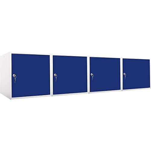 newpo Mega Deal | 4x Schließfachwürfel | HxBxT 45 x 45 x 45 cm | Blau - Garderobe Schließfach Schließfachschrank Schließwürfel