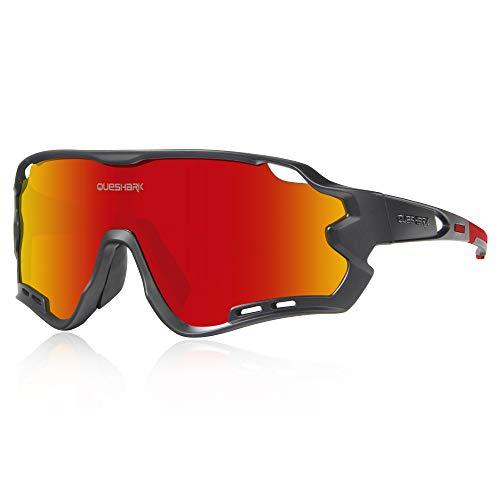 Queshark Polarizzati Occhiali Ciclismo con 4 Lenti Intercambiabili Occhiali Bici Occhiali Sportivi da Sole Anti UV da Uomo Donna per Corsa,MTB (Nero Rosso)