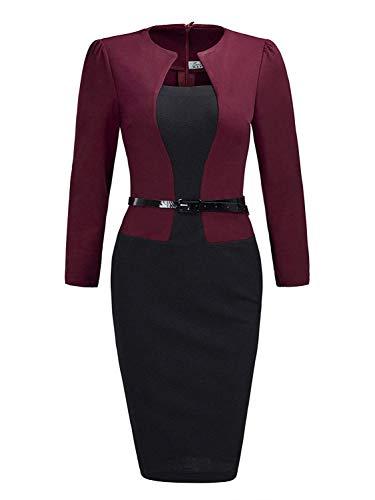 MisShow Damen Elegant Etuikleider mit 3/4 Arm Midikleider Business Kleider Weinrot Gr.M