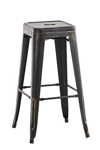Tabouret de bar au style industriel Noir/Or