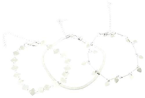 Drie vrouwelijke enkelbanden - vrouw - hangers - harten - verstelbaar - meisje - mode - zomer - accessoires - strand - origineel cadeau-idee - zilver - verjaardag - kerstmis - sieraden - kostuumjuwelen