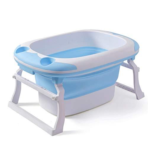 WHL Faltbare Badewanne Baby Schwimmen Tragbare Erwachsene Kunststoffwanne Zusammenklappbare Große Nicht aufblasbare Wäscherei Pool Hause (blau, Rosa) (Farbe : Blau)