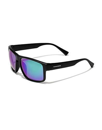 HAWKERS Gafas de Sol Deportivas Faster, para Hombre y Mujer, con Montura negra mate y lente polarizada y cromada en verde y morado con efecto espejo, Protección UV400, Talla única