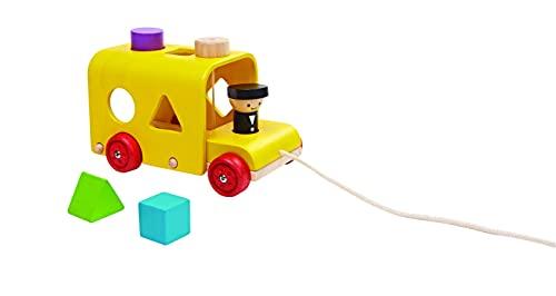 PlanToys - PT5121 - Jouet en bois - Jeu d'éveil - Autobus à Formes