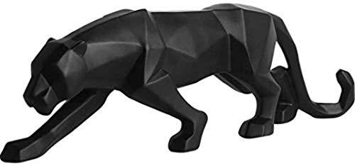 LFDHSF Decoraciones Arte Artesanal Resina Hogar Escultura Moderna Leopardo Blanco y Negro Decoración de Escritorio Estatua Sala de Estar Bar Regalo - Negro