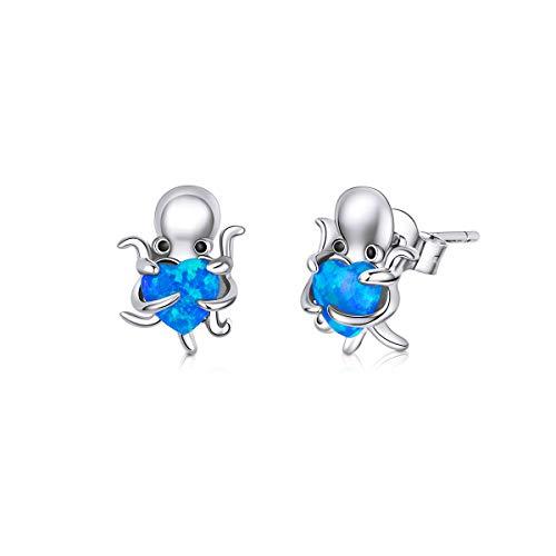 GDDX Octopus Blue Heart Opal Pendientes hipoalergénicos Plata de ley Bonitos pendientes de perno de animales Joyería para mujer