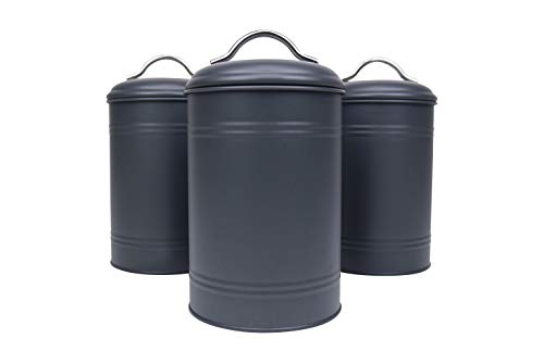 Kitchen Canisters, Set of 3 for Countertop Storage of Coffee, Food, Charcoal Grey Metal, All One-Size, Airtight Lids, Modern Farmhouse Industrial (8 Inches High with Lids, 4.5 Inches Diameter)