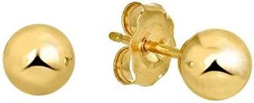 14k Yellow Gold 7 mm Ball Earrings for Women 0.59g