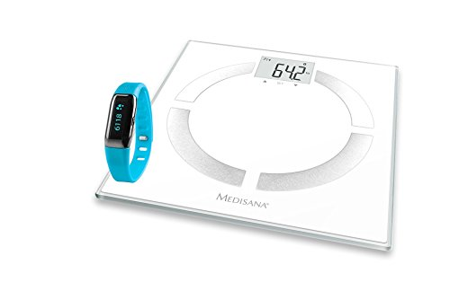 Medisana BS444 - Báscula digital de baño con monitor de actividad, color blanco y gris, versión española
