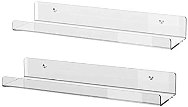 HESIN Acrylic Book Shelf Floating Wall Ledges Display Shelves 5MM Thick Invisible Spice Racks 2 Pack Of 16 L X 4 D X 2 H