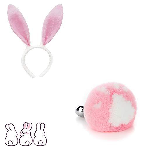 Forme de patte de chat rose Lapin Mignon lapin oreille en épingle à cheveux Queue Charms Jeu de rôle Costume Party Masquerade Cosplay Game Peut remplacer la tête en métal (M)