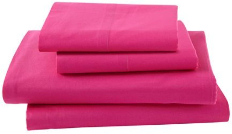 Laxlinens Drap de lit 4pièces en coton égypcravaten 200fils (+ 53,3cm) poche profonde suppléHommestaire empereur massif, rose vif