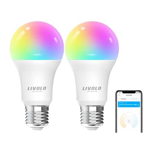 LIVOLO WiFi Smart Bulbs Lamp,E27 9W RGB LED Light Dimmer Timer Remote Control,Compatible with Google and Alexa,VL-SHQ012-C2 (2pcs E27 AC220-240V)