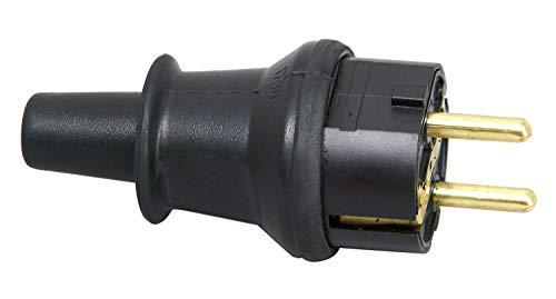 Kopp Schutzkontakt-Stecker mit Knickschutztülle, IP44 Schutzklasse, spritzwassergeschützt, 250V (16A), Schutzkontakt Stecker aus SEBS, bruchfest, schwarz, 173016046