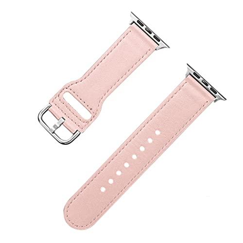 GYZX Para Correa de Reloj Correa de Cuero Genuino 42 mm 44 mm Serie 5 4 Correa de Reloj 38 mm 40 mm Accesorios de Pulsera (Color : Pink, Size : 42mm or 44mm)