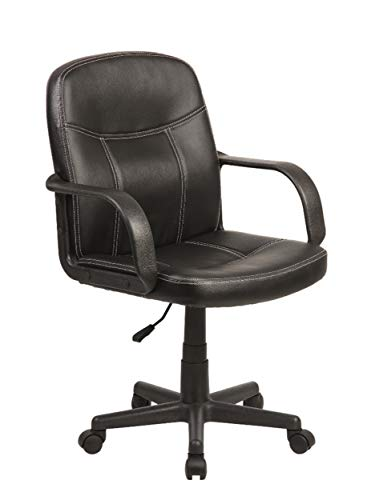 Homemania bureaustoel Elly kleur zwart verstelbare zithoogte met wielen en armleuningen, nylon, PU, eenheidsmaat
