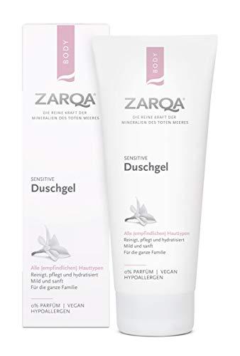 Zarqa - Neues Produkt - Duschgel Sensitive - 200ml - Reinigt, pflegt und befeuchtet - Mit Mineralien und Salz vom Toten Meer - Ohne Parfüm, SLS und SLES - Für empfindliche Hauttypen geeignet