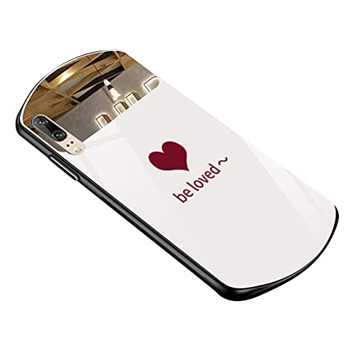 fuchsiaan Cubierta oval de la cáscara del teléfono de la impresión del corazón del espejo de la caja del teléfono móvil para el iPhone 11/12 - blanco para el iPhone 11 Pro 5.8 pulgadas