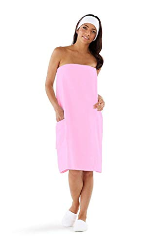 Boca Terry Womens Spa Wrap - 100% Cotton Spa, Shower, Bath and Gym Towel w Snaps - Med/Large, XXL, 4XL, 6XL Pink