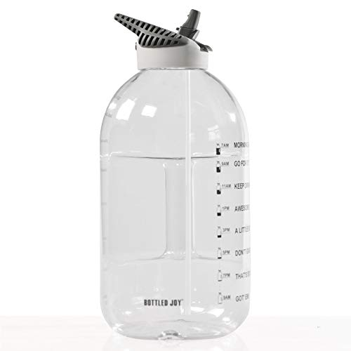 XIAOYAN Motivational Sport Water Bottle with Time Marker,Botella De Agua ​con Pajita De Plástico Sin Bpa para Gimnasio, Reutilizable Transparente Botella De Agua De Galón