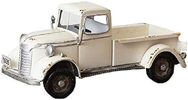 AHD Vintage Antique Metal Truck Decorative Farmhouse Box Plant Holder (White)