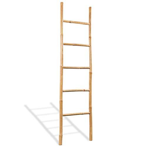 vidaXL Escalera para Toallas 5 Peldaños Bambú 150 cm Estante Soporte Perchero