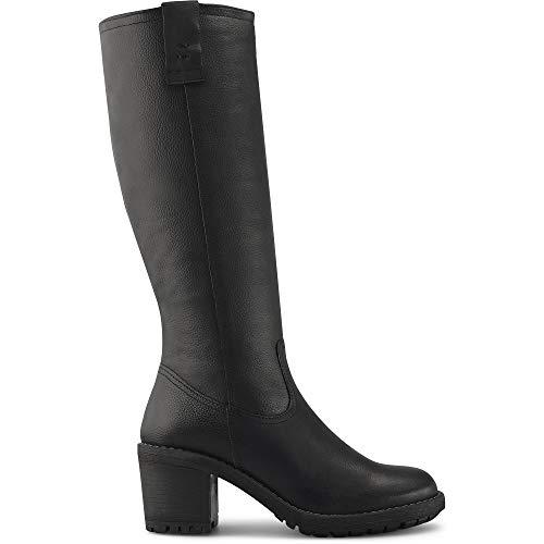 Cox Damen Leder-Stiefel, klassischer Langschaft-Stiefel in Schwarz mit Rutschfester Laufsohle, Schuhe mit bequemer Leder-Decksohle Schwarz Strukturiertes Leder 39