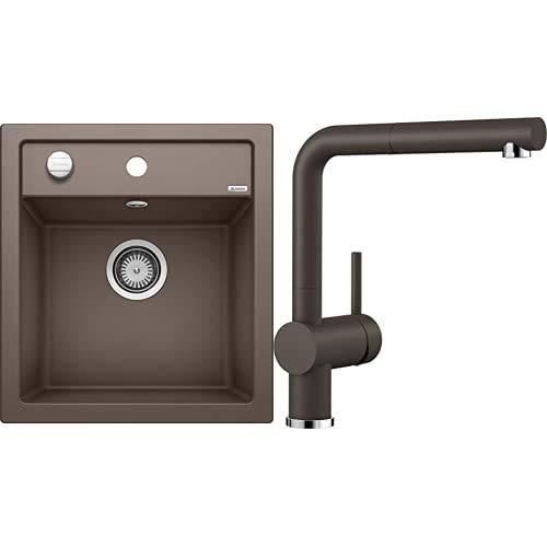BLANCO Spül-Set in café braun – DALAGO 45 – Spülbecken für 45 cm Unterschränke – Granitspüle aus SILGRANIT + LINUS-S – Küchenarmatur in SILGRANIT-Look – mit herausziehbarem Auslauf