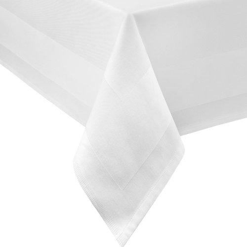 DAMAST tafelkleed ECKIG 140x240 140 x 240 cm wit atlasrand 100% katoen tafellinnen Tablecloths van DecoHometextil