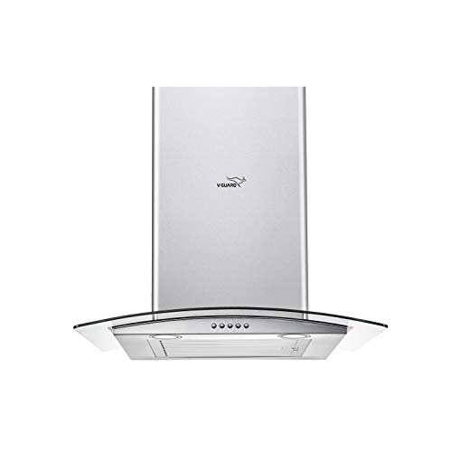 V-Guard MG10 60cm, 850m³/hr Curved Glass Kitchen Chimney with Baffle Filter, Push Button Controls and Oil Collector Cup...