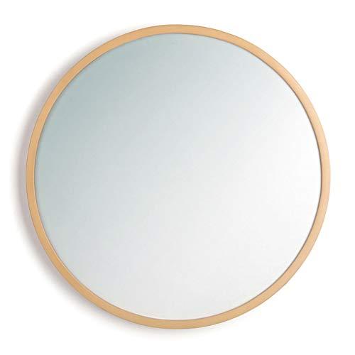 40 - Espejo de Madera Maciza de 70 cm, Espejo Redondo de Pared, Natural para baño/Dormitorio/Armario