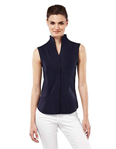 Vincenzo Boretti Damen Bluse mit Kelchkragen leicht tailliert 100% Baumwolle bügelleicht Kurzarm ärmellos Hemdbluse mit Stehkragen elegant festlich auch für Business dunkelblau 38