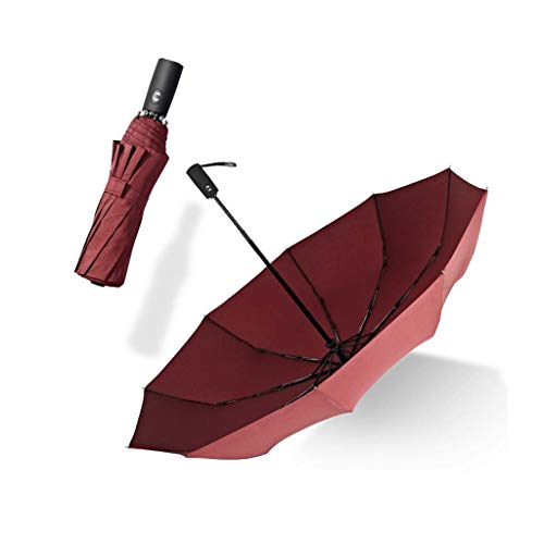 CAO-LIFE Travel Folding Umbrella Windproof, Golf Umbrella Automatic Opening and Closing Lightweight 10 Rib Automatic Weatherproof Shed Compact (Color : Wine red)