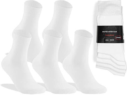 world wide sox | 5 Paar weiße Premium Socken aus Baumwolle | 39-42