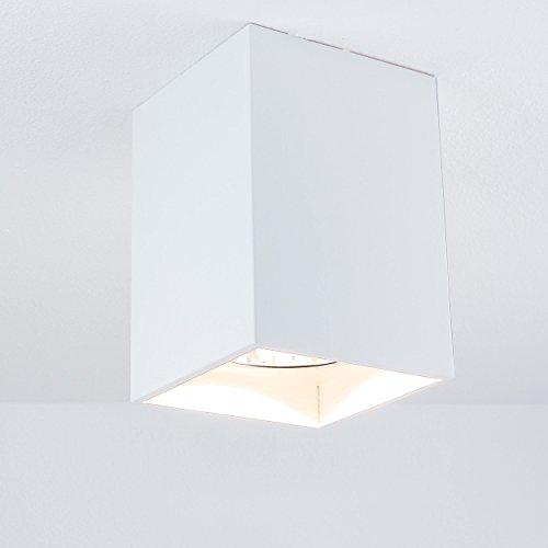 Eleganter Aufbau Spotstrahler in Weiß Bauhausstil inkl. 1x 12W E27 LED 230V Deckenspot aus Metall...