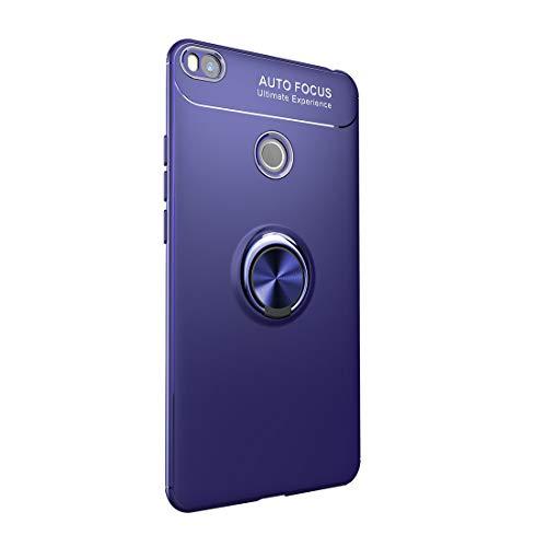 Funda Xiaomi Mi MAX 2 Carcasa Delgada Silicona Suave Negro TPU Case Anti-Arañazos, con Anillo Grip Kickstand y Soporte la función de Montaje Teléfono Case para Mi MAX 2 (Mi MAX 2, Azul)