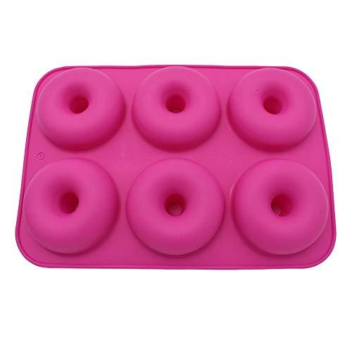 Rameng 6 Cavités Moules à Donuts en Silicone Antiadhésif Donut Silicone Baking Pan pour Gâteaux Biscuits Beignets (Rouge)