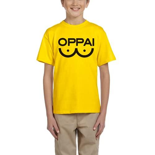 Oppai Saitama Punch - Camiseta Unisex niños Manga Corta (Amarillo, 9 años)