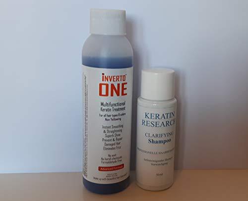 Queratina brasileña orgánica Inverto 60, tratamiento para alisado del cabello, libre de formaldehído, 1kit de 120 ml + 100 ml + 50ml de champú aclarador gratis